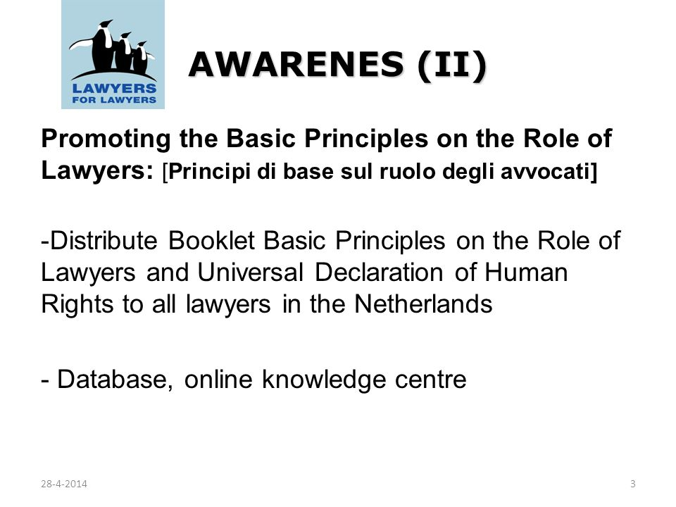 AWARENES (II) Promoting the Basic Principles on the Role of Lawyers: [Principi di base sul ruolo degli avvocati] -Distribute Booklet Basic Principles on the Role of Lawyers and Universal Declaration of Human Rights to all lawyers in the Netherlands - Database, online knowledge centre 328-4-2014