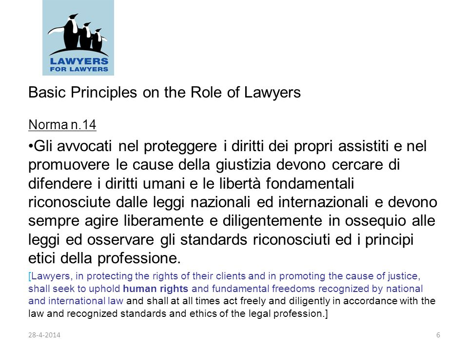 Basic Principles on the Role of Lawyers Norma n 16 16.