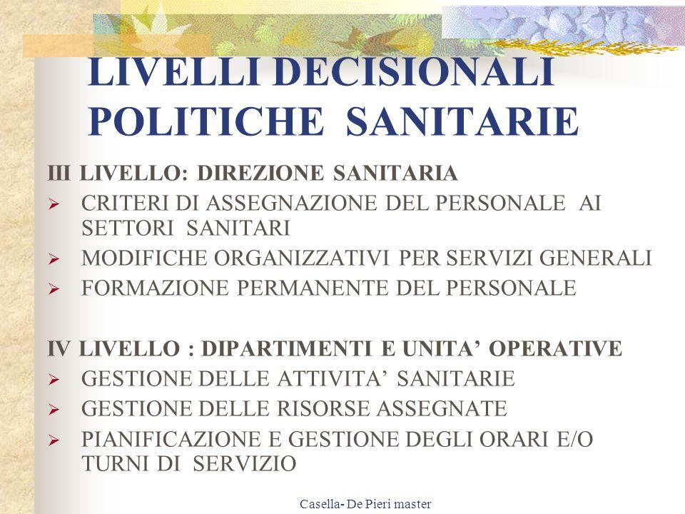 Casella- De Pieri master FORMULE (2) TASSO DI ASSENZA totale ore assenza reali effettuate da tutti gli operatori x 100 n.