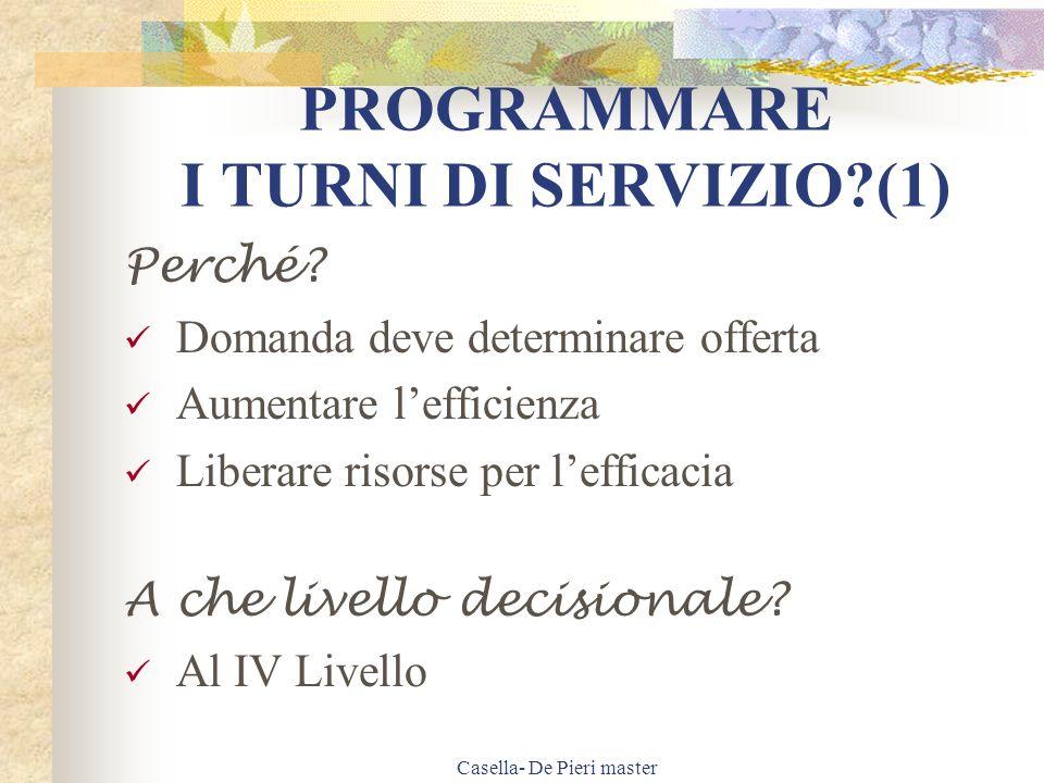 Casella- De Pieri master PROGRAMMARE I TURNI DI SERVIZIO?(2) Quali vantaggi.