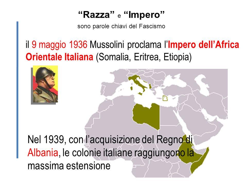 Razza e Impero sono parole chiavi del Fascismo il 9 maggio 1936 Mussolini proclama l Impero dellAfrica Orientale Italiana (Somalia, Eritrea, Etiopia)