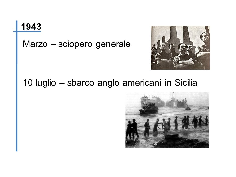 1943 Marzo – sciopero generale 10 luglio – sbarco anglo americani in Sicilia