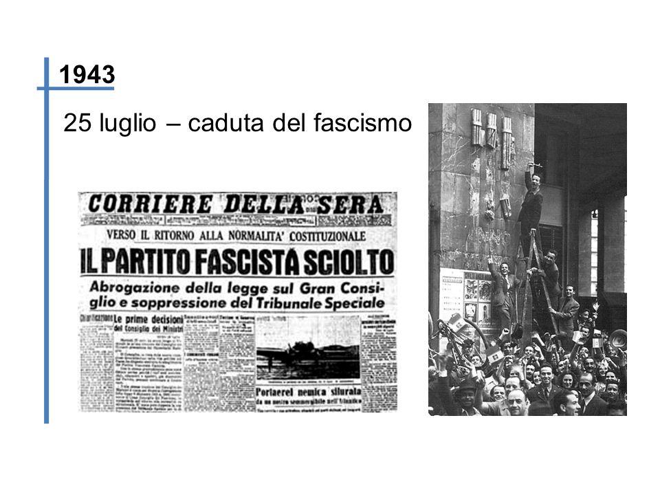 1943 25 luglio – caduta del fascismo