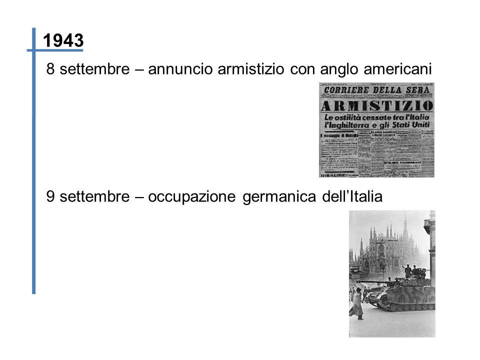 8 settembre – annuncio armistizio con anglo americani 1943 9 settembre – occupazione germanica dellItalia