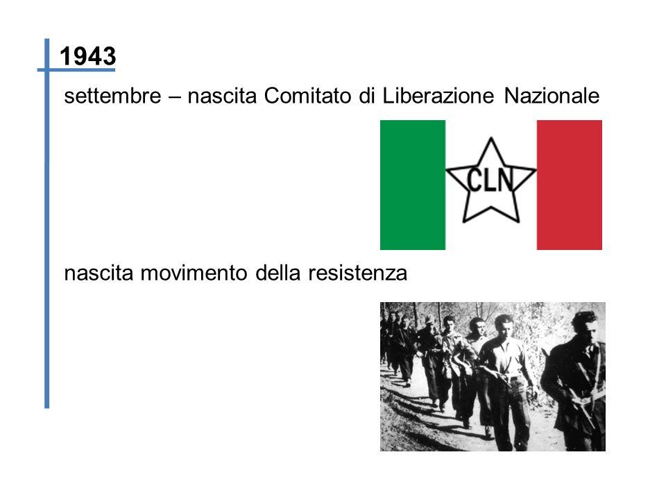 settembre – nascita Comitato di Liberazione Nazionale 1943 nascita movimento della resistenza