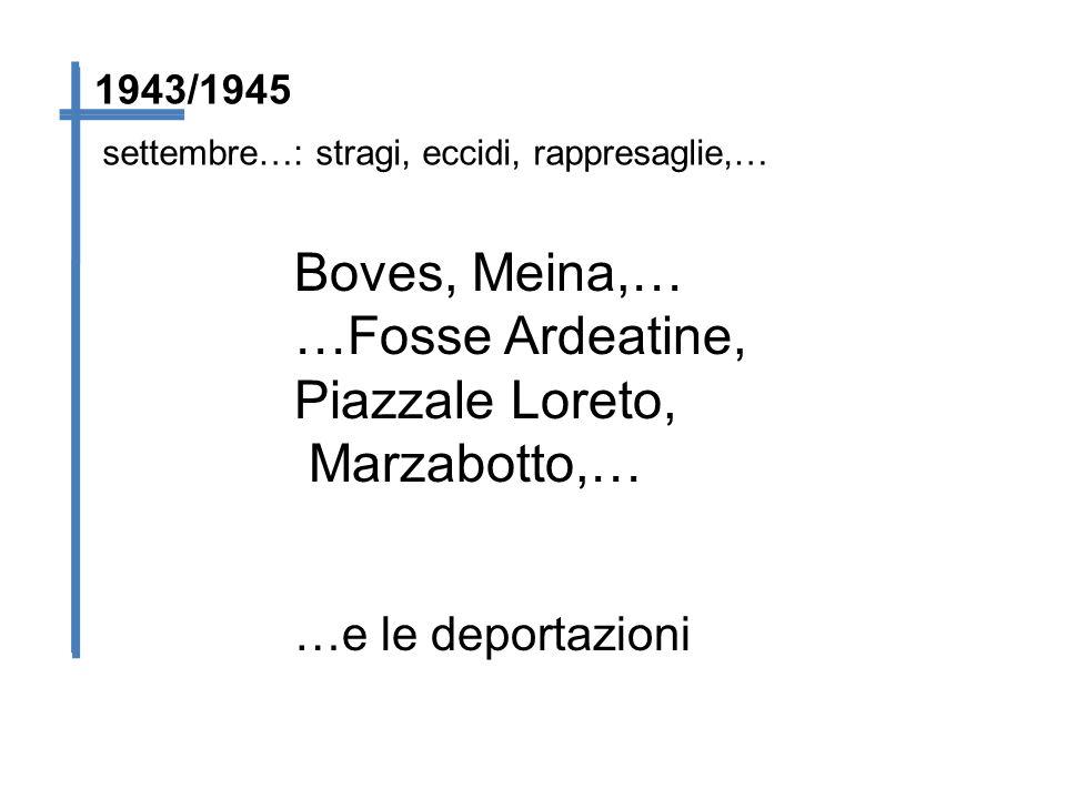 settembre…: stragi, eccidi, rappresaglie,… 1943/1945 Boves, Meina,… …Fosse Ardeatine, Piazzale Loreto, Marzabotto,… …e le deportazioni