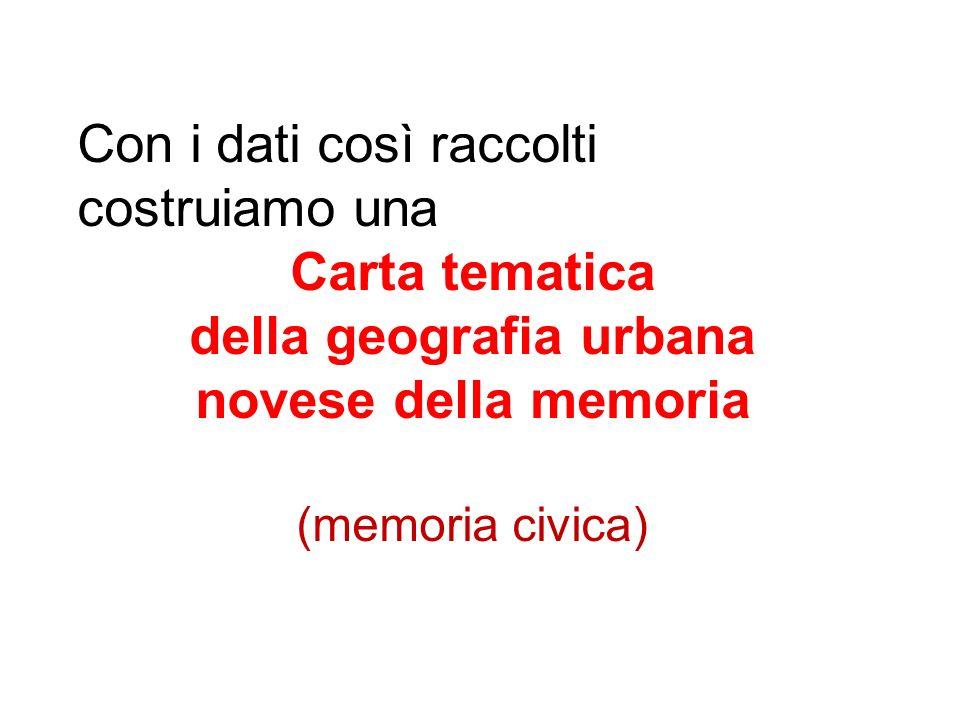 Con i dati così raccolti costruiamo una Carta tematica della geografia urbana novese della memoria (memoria civica)