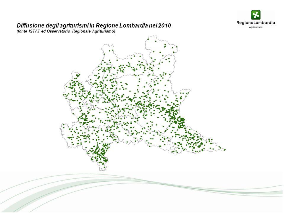 Diffusione degli agriturismi in Regione Lombardia nel 2010 (fonte ISTAT ed Osservatorio Regionale Agriturismo)