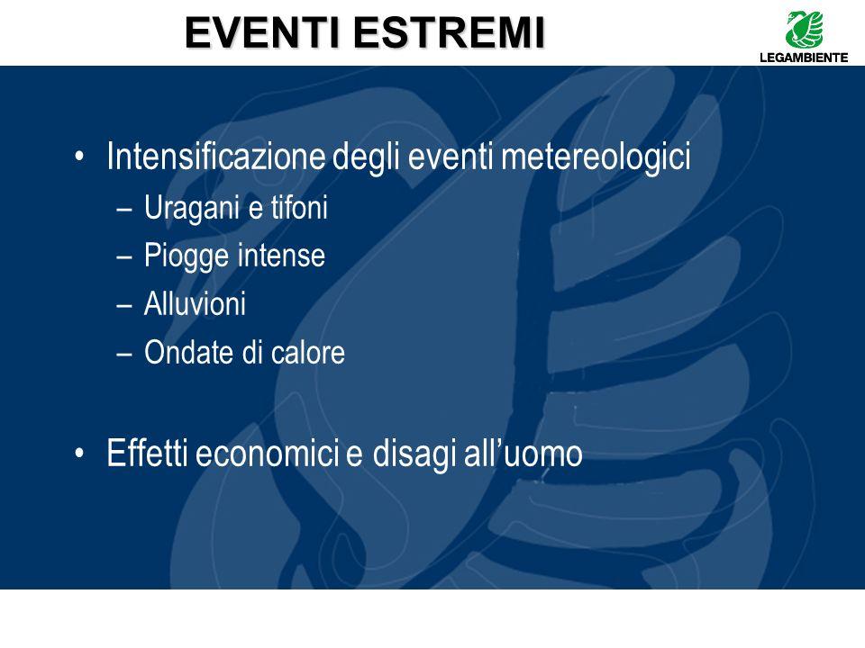 EVENTI ESTREMI Intensificazione degli eventi metereologici –Uragani e tifoni –Piogge intense –Alluvioni –Ondate di calore Effetti economici e disagi a