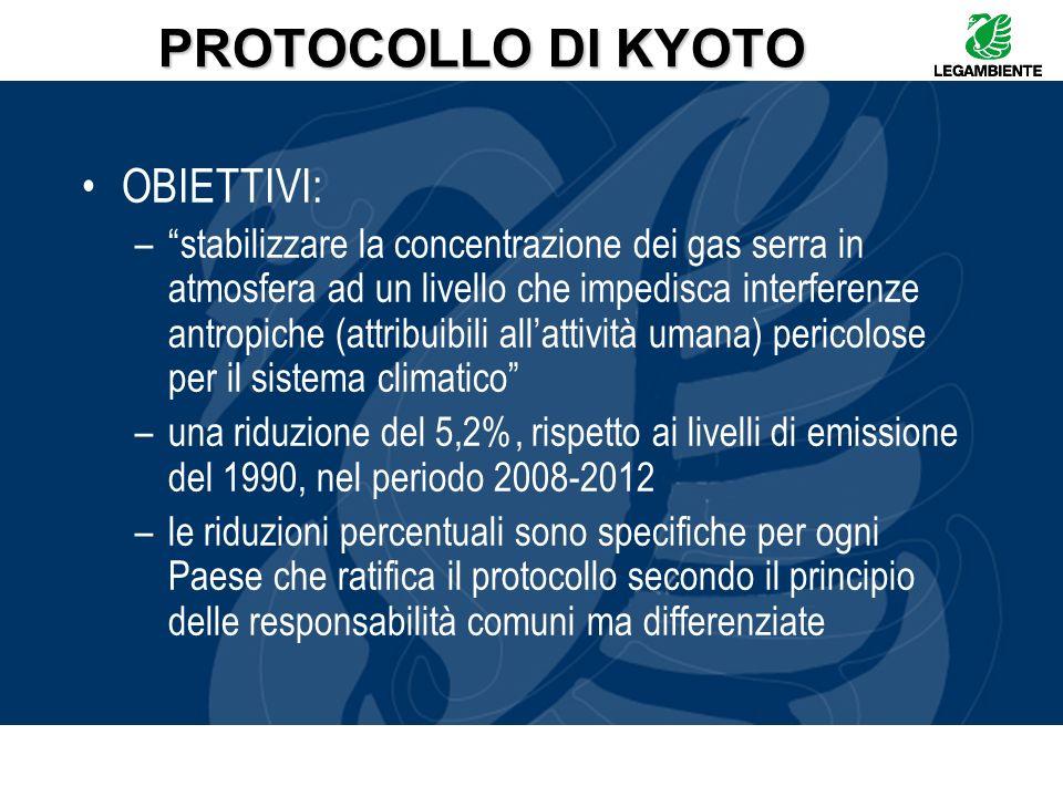 PROTOCOLLO DI KYOTO OBIETTIVI: –stabilizzare la concentrazione dei gas serra in atmosfera ad un livello che impedisca interferenze antropiche (attribu