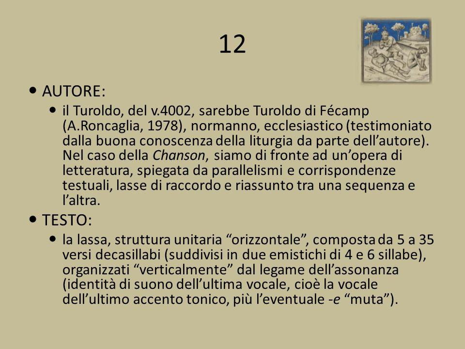 12 AUTORE: il Turoldo, del v.4002, sarebbe Turoldo di Fécamp (A.Roncaglia, 1978), normanno, ecclesiastico (testimoniato dalla buona conoscenza della liturgia da parte dellautore).