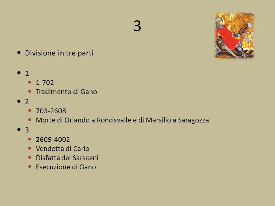 3 Divisione in tre parti 1 1-702 Tradimento di Gano 2 703-2608 Morte di Orlando a Roncisvalle e di Marsilio a Saragozza 3 2609-4002 Vendetta di Carlo Disfatta dei Saraceni Esecuzione di Gano