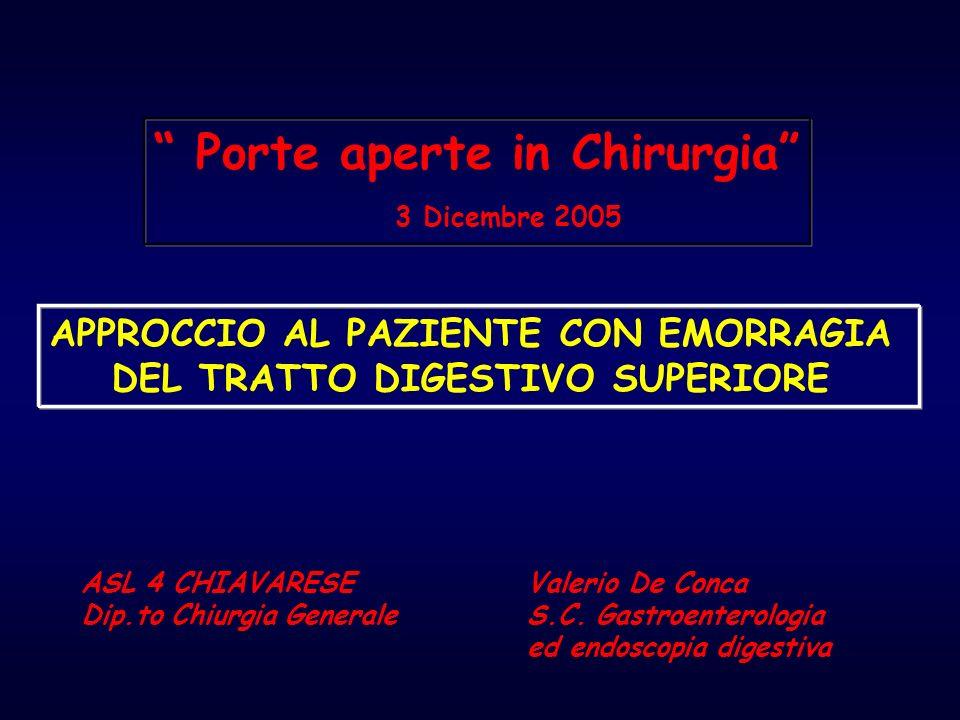 EMORRAGIE DIGESTIVE ACUTE SUPERIORI Diagnosi finale % Ulcera Peptica 56,7 Varici esofago/gastriche 12,2 Angiodisplasie 5,1 Lesioni di Mallory-Weiss 5,0 Neoplasie 4,5 Erosioni gastro-duodenali 4,4 Esofagiti 4,3 Dieulafoy e altro 7,8 UCLA-CURE Hemostasis Research Group, 2002 EZIOLOGIA
