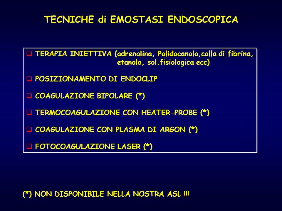 TECNICHE di EMOSTASI ENDOSCOPICA TERAPIA INIETTIVA (adrenalina, Polidocanolo,colla di fibrina, etanolo, sol.fisiologica ecc) POSIZIONAMENTO DI ENDOCLI