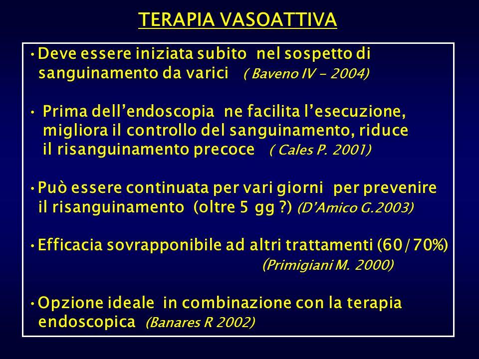 TERAPIA VASOATTIVA Deve essere iniziata subito nel sospetto di sanguinamento da varici ( Baveno IV - 2004) Prima dellendoscopia ne facilita lesecuzion