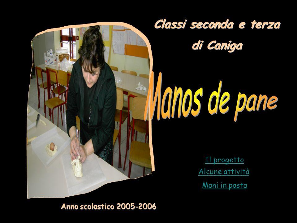 Alcune attività Il progetto Mani in pasta Anno scolastico 2005-2006 Classi seconda e terza di Caniga