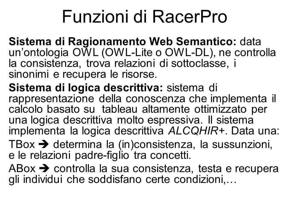 Funzioni di RacerPro Sistema di Ragionamento Web Semantico: data unontologia OWL (OWL-Lite o OWL-DL), ne controlla la consistenza, trova relazioni di sottoclasse, i sinonimi e recupera le risorse.