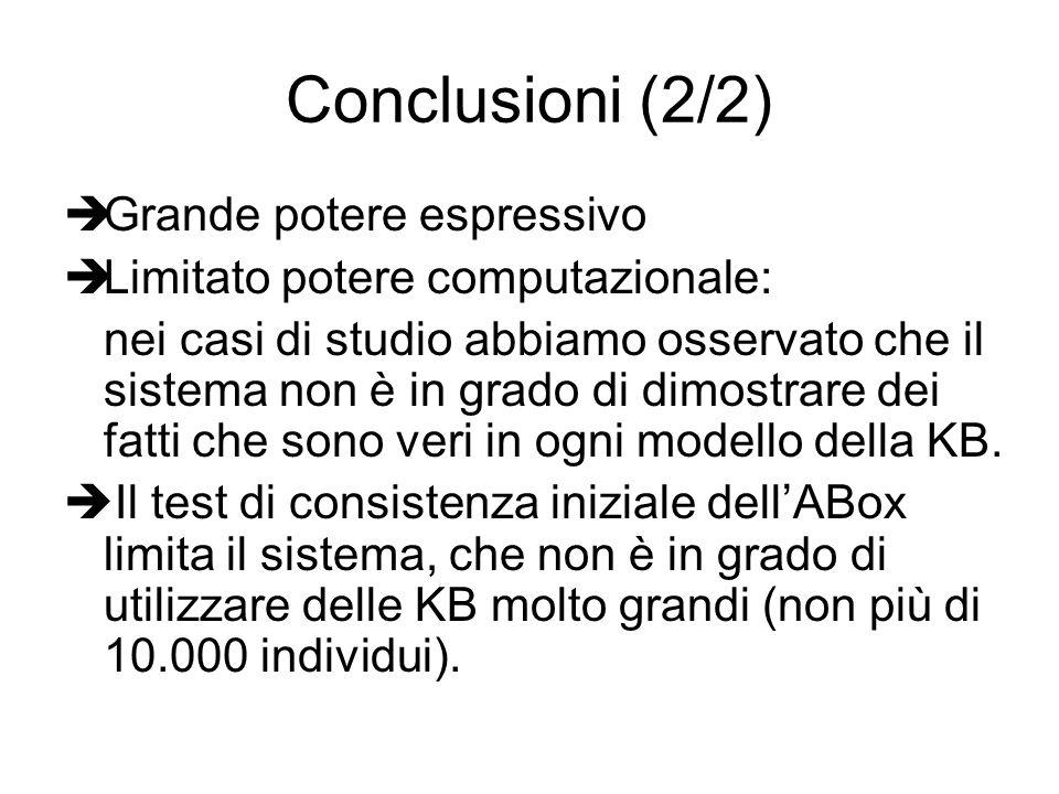 Conclusioni (2/2) Grande potere espressivo Limitato potere computazionale: nei casi di studio abbiamo osservato che il sistema non è in grado di dimostrare dei fatti che sono veri in ogni modello della KB.
