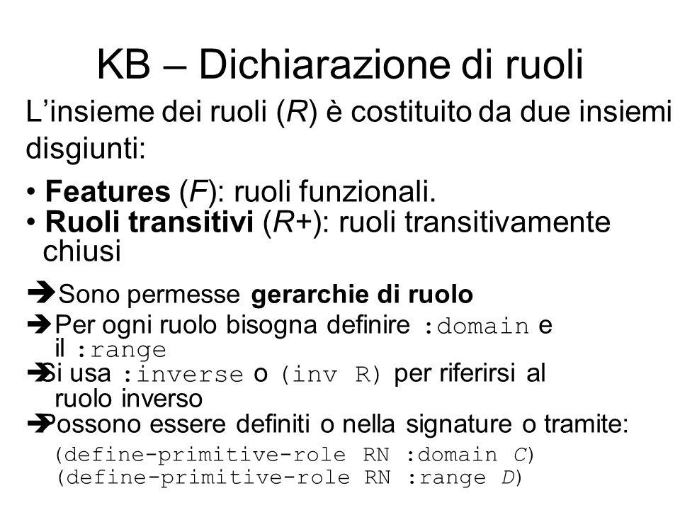 Linsieme dei ruoli (R) è costituito da due insiemi disgiunti: Features (F): ruoli funzionali.