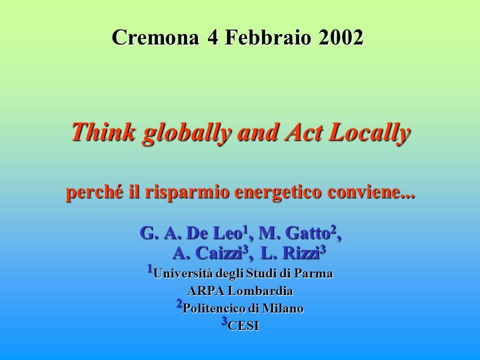 Think globally and Act Locally perché il risparmio energetico conviene...
