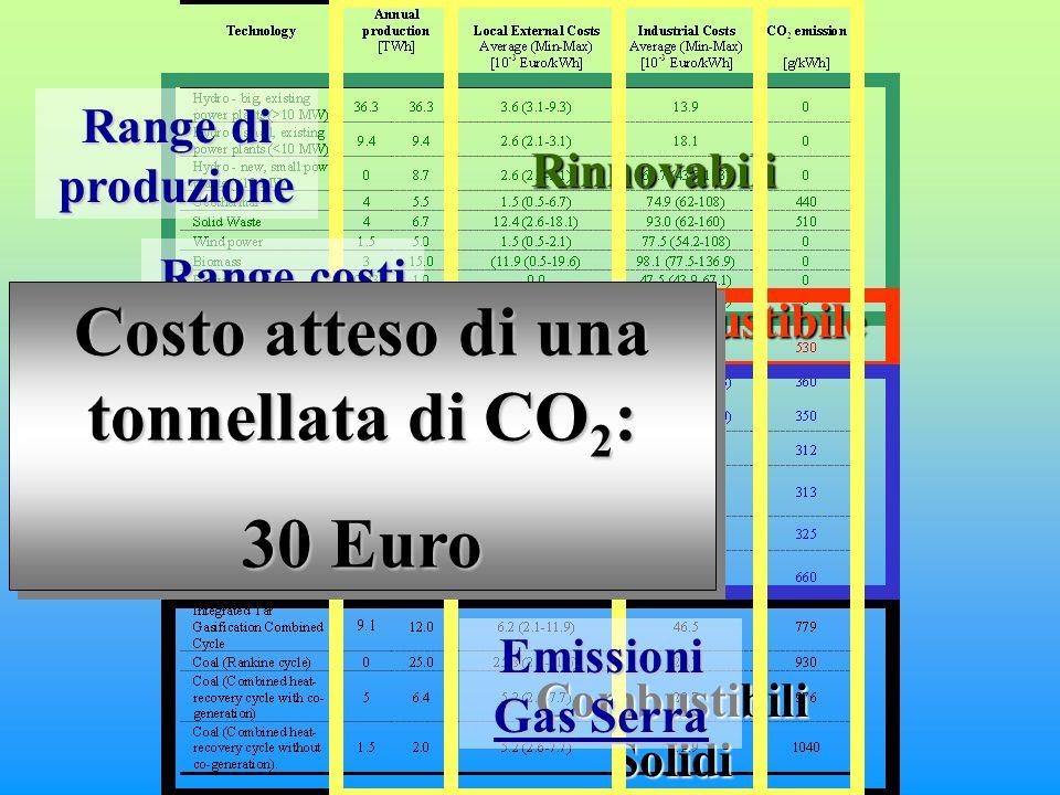 Rinnovabili Olio combustibile Combustibili Solidi Gas Range di produzione Range costi ambientali locali Range costi industriali Emissioni Gas Serra Costo atteso di una tonnellata di CO 2 : 30 Euro Costo atteso di una tonnellata di CO 2 : 30 Euro