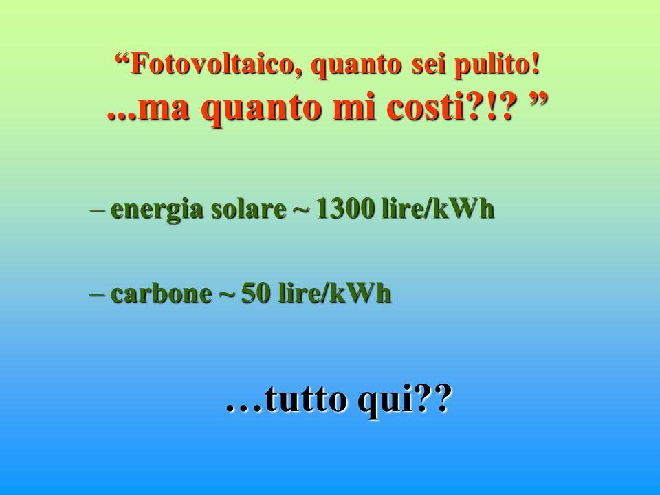 Fotovoltaico, quanto sei pulito!...ma quanto mi costi !.