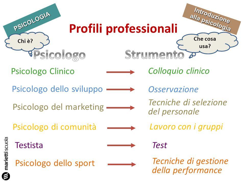 PSICOLOGIA Introduzione alla psicologia Profili professionali Chi è? Che cosa usa? Psicologo Clinico Colloquio clinico Psicologo dello sviluppo Osserv
