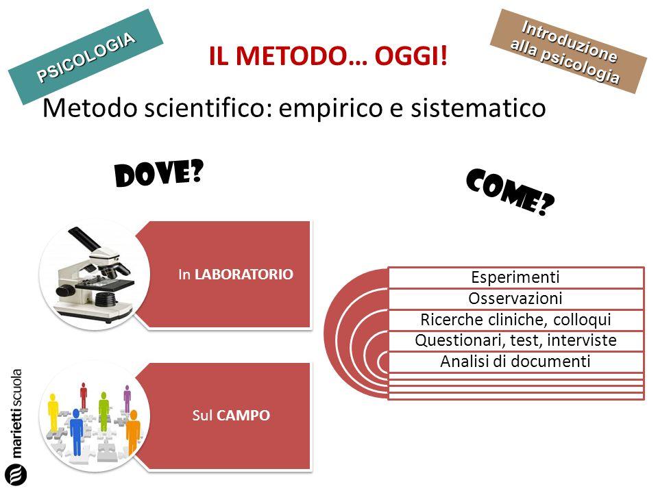 PSICOLOGIA Introduzione alla psicologia IL METODO… OGGI! Metodo scientifico: empirico e sistematico DOVE? In LABORATORIO Sul CAMPO COME? Esperimenti O