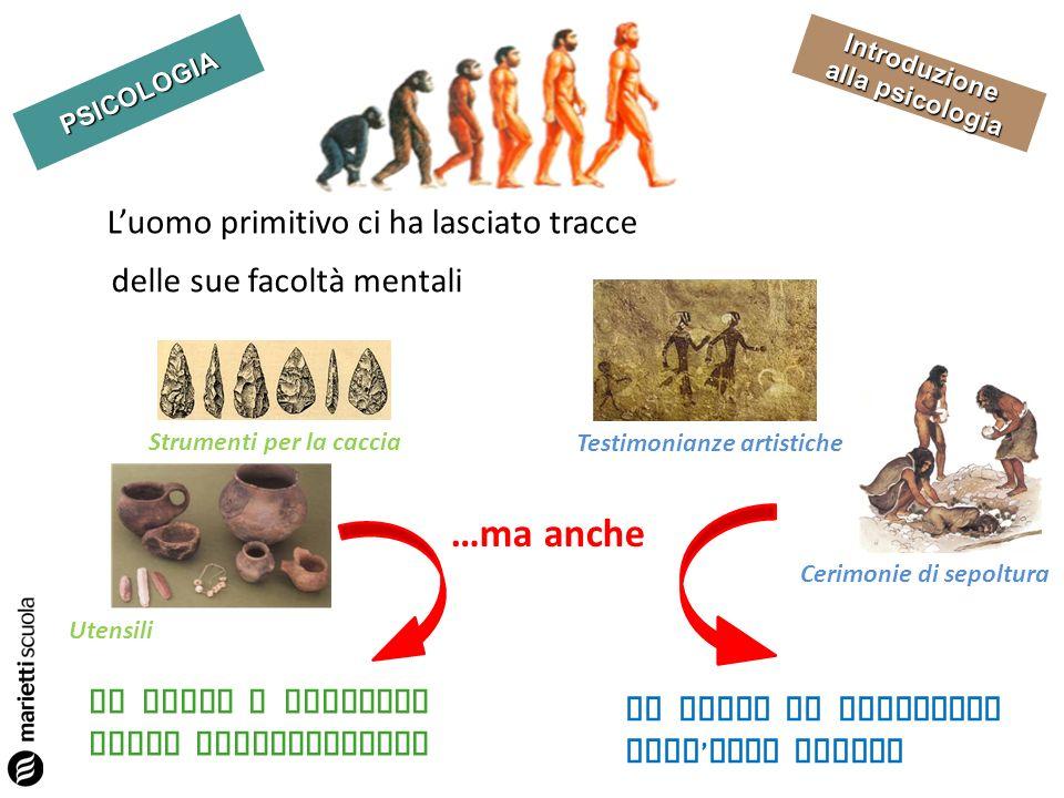 PSICOLOGIA Introduzione Luomo primitivo ci ha lasciato tracce delle sue facoltà mentali Testimonianze artistiche Utensili Strumenti per la caccia La M