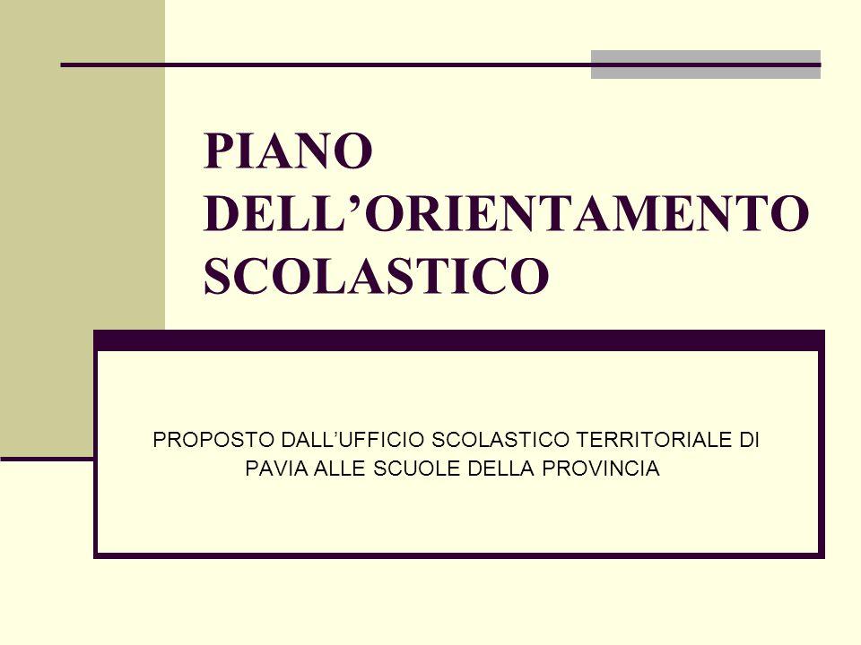 PIANO DELLORIENTAMENTO SCOLASTICO PROPOSTO DALLUFFICIO SCOLASTICO TERRITORIALE DI PAVIA ALLE SCUOLE DELLA PROVINCIA