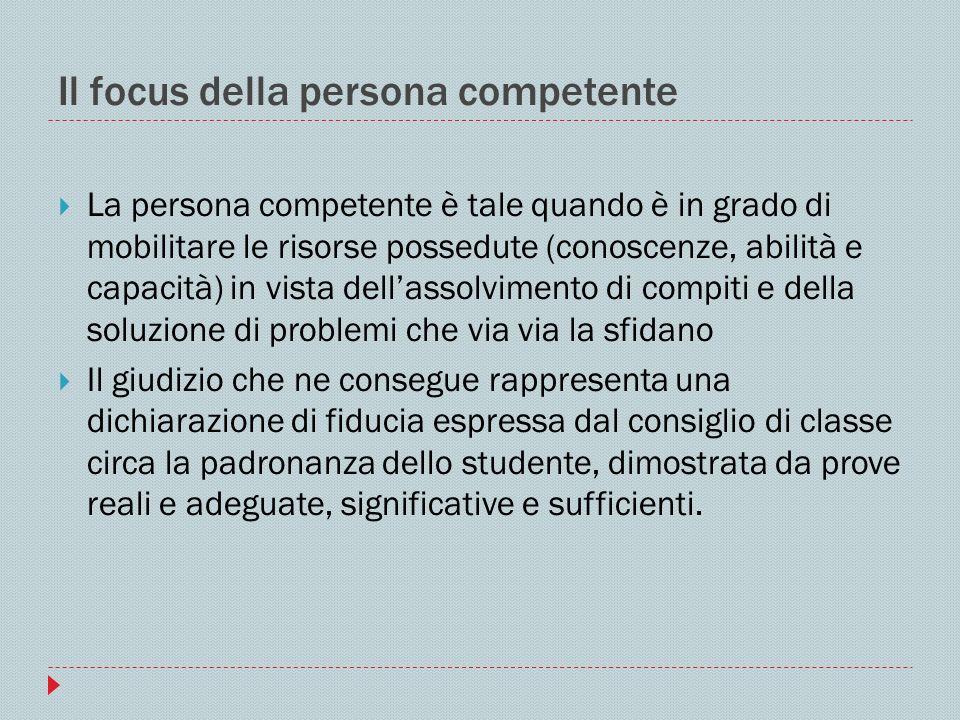 Il focus della persona competente La persona competente è tale quando è in grado di mobilitare le risorse possedute (conoscenze, abilità e capacità) i