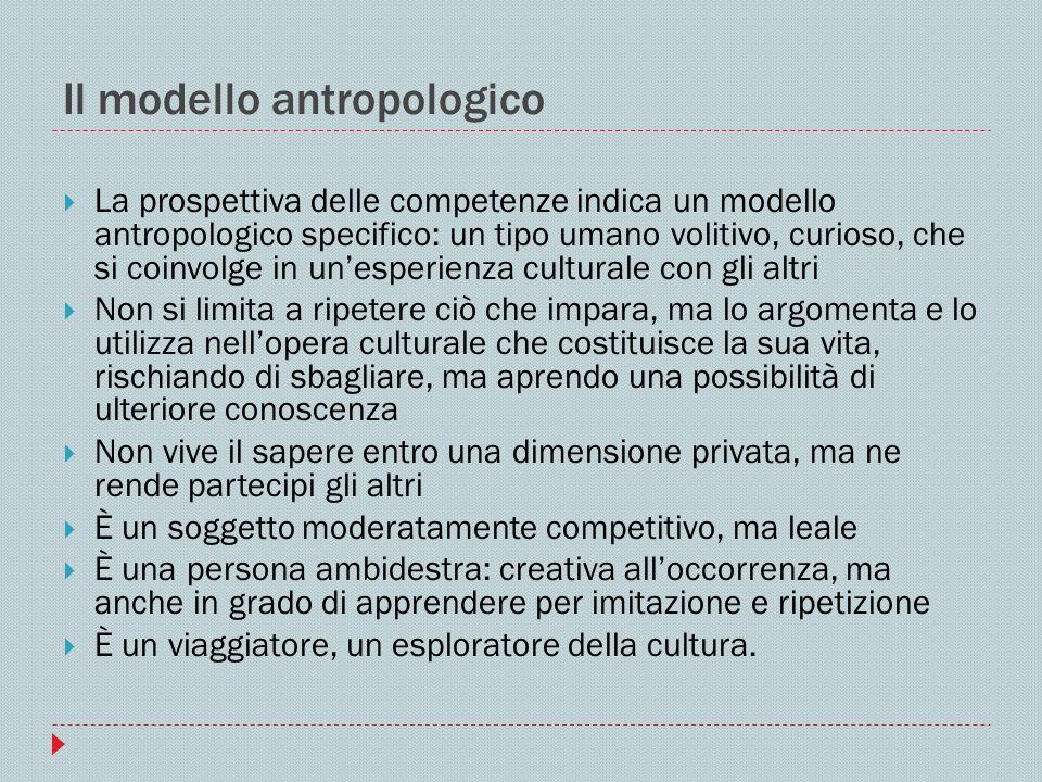 Il modello antropologico La prospettiva delle competenze indica un modello antropologico specifico: un tipo umano volitivo, curioso, che si coinvolge