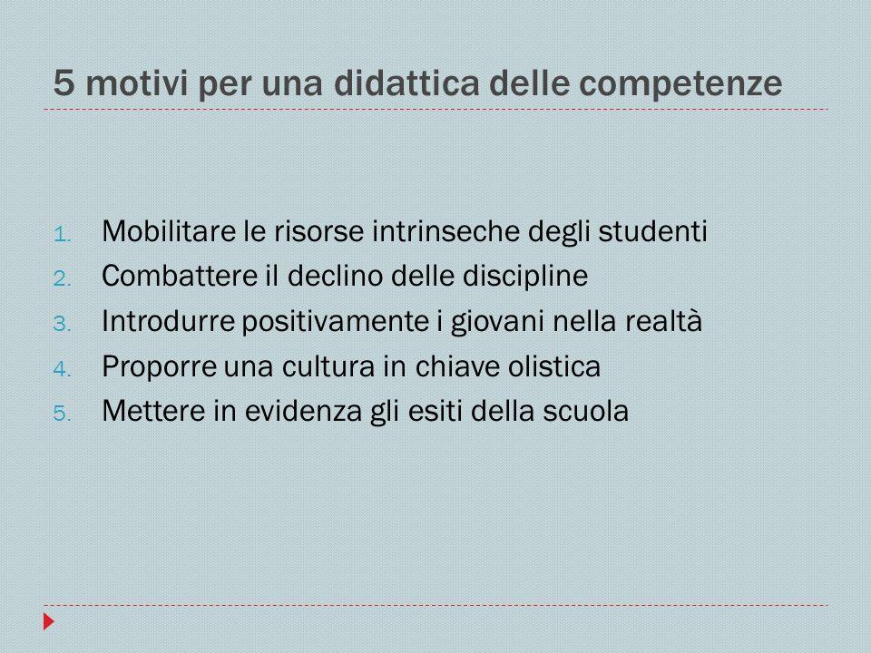5 motivi per una didattica delle competenze 1. Mobilitare le risorse intrinseche degli studenti 2. Combattere il declino delle discipline 3. Introdurr