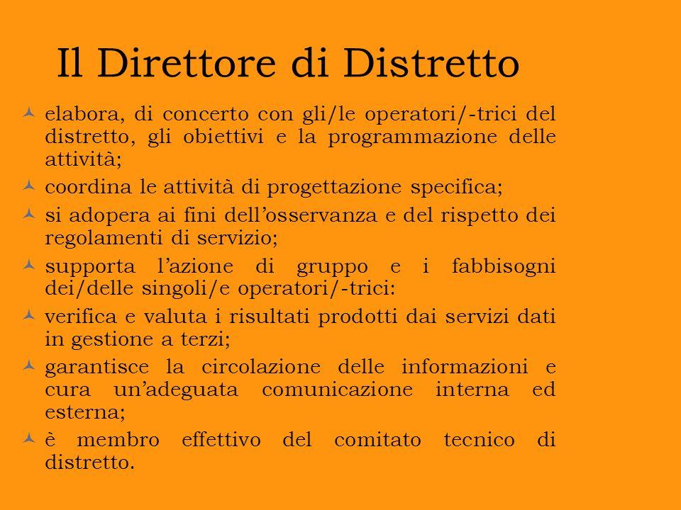 Il Direttore di Distretto elabora, di concerto con gli/le operatori/-trici del distretto, gli obiettivi e la programmazione delle attività; coordina l