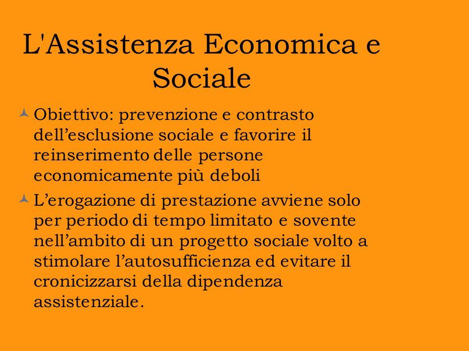L'Assistenza Economica e Sociale Obiettivo: prevenzione e contrasto dellesclusione sociale e favorire il reinserimento delle persone economicamente pi