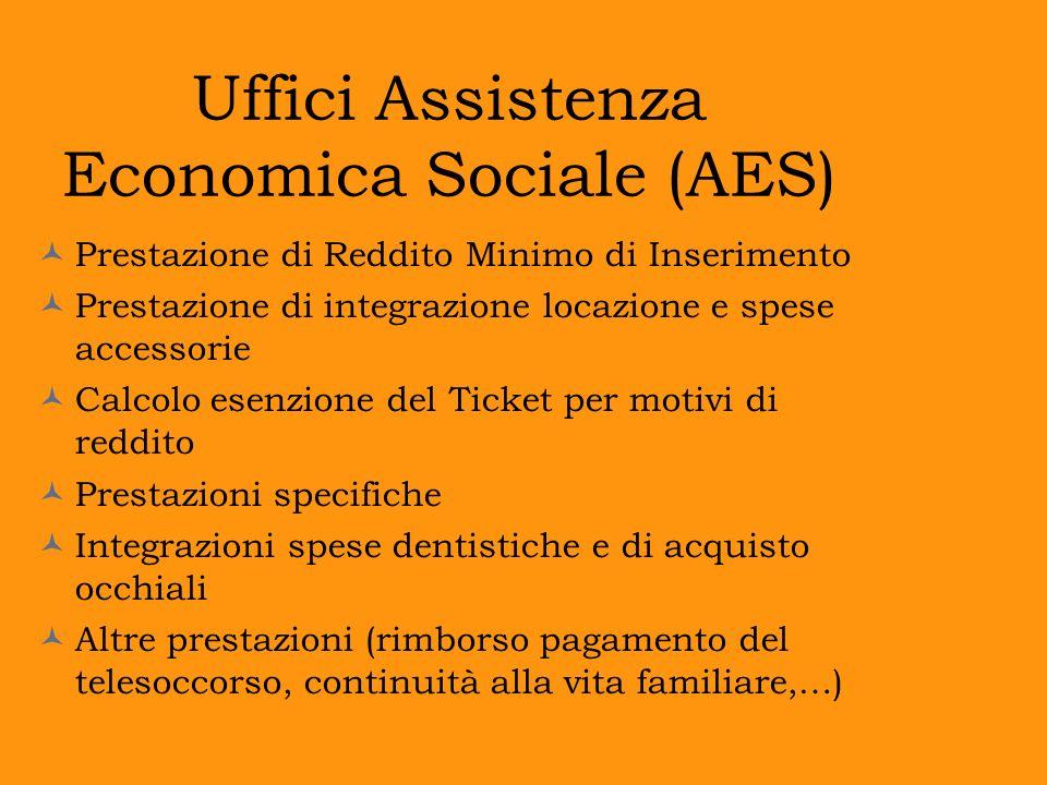 Uffici Assistenza Economica Sociale (AES) Prestazione di Reddito Minimo di Inserimento Prestazione di integrazione locazione e spese accessorie Calcol