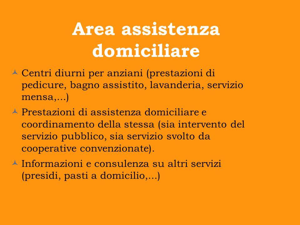 Area assistenza domiciliare Centri diurni per anziani (prestazioni di pedicure, bagno assistito, lavanderia, servizio mensa,...) Prestazioni di assist