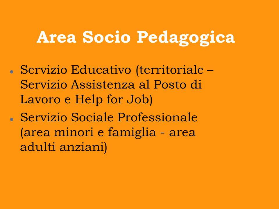 Area Socio Pedagogica Servizio Educativo (territoriale – Servizio Assistenza al Posto di Lavoro e Help for Job) Servizio Sociale Professionale (area m