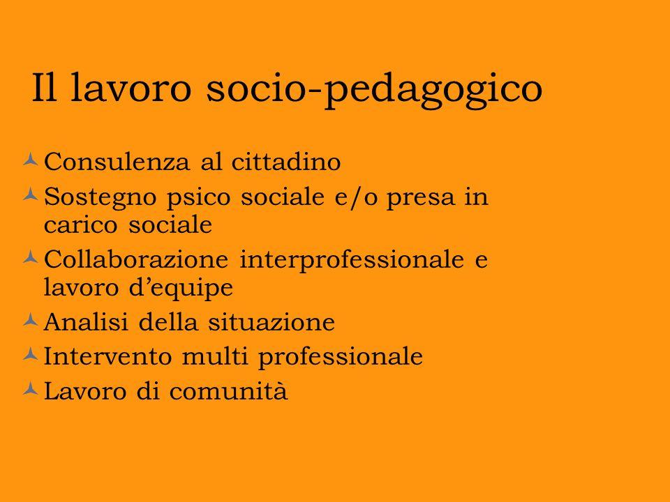 Il lavoro socio-pedagogico Consulenza al cittadino Sostegno psico sociale e/o presa in carico sociale Collaborazione interprofessionale e lavoro dequi
