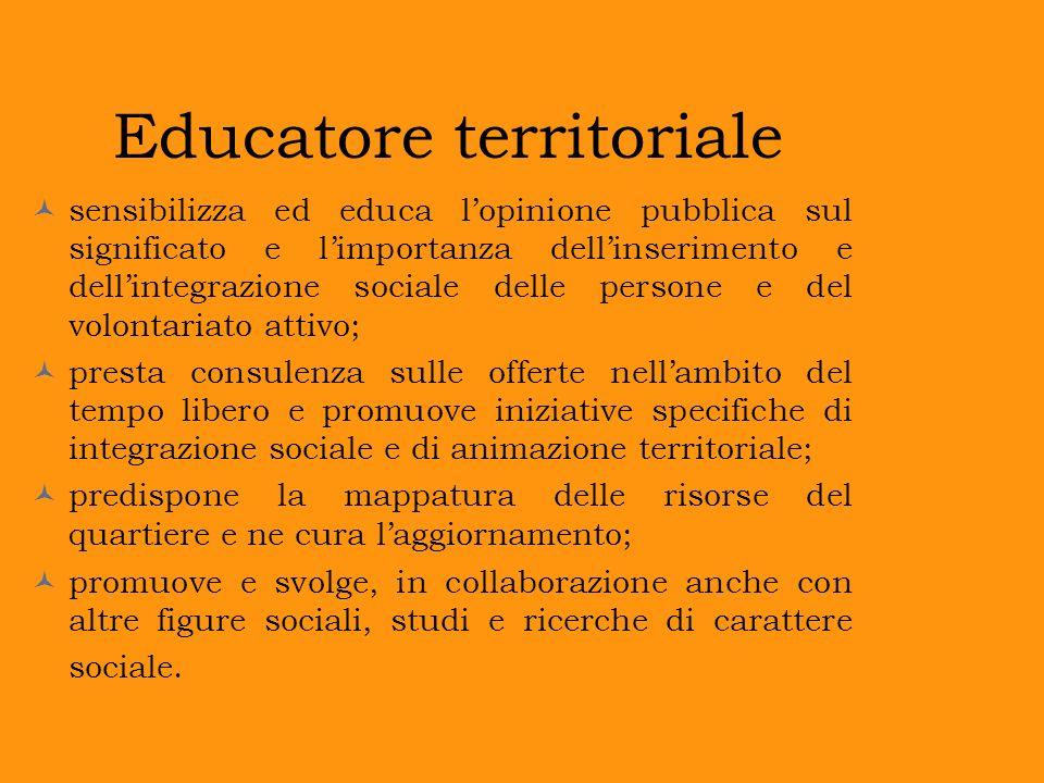 Educatore territoriale sensibilizza ed educa lopinione pubblica sul significato e limportanza dellinserimento e dellintegrazione sociale delle persone
