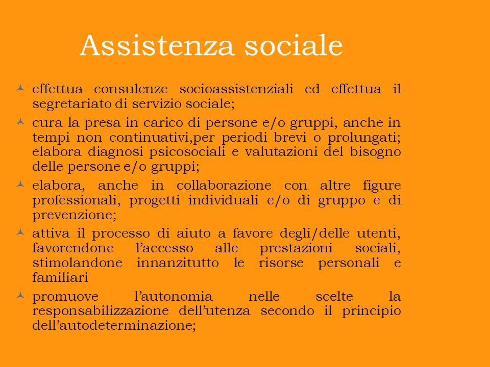 Assistenza sociale effettua consulenze socioassistenziali ed effettua il segretariato di servizio sociale; cura la presa in carico di persone e/o grup