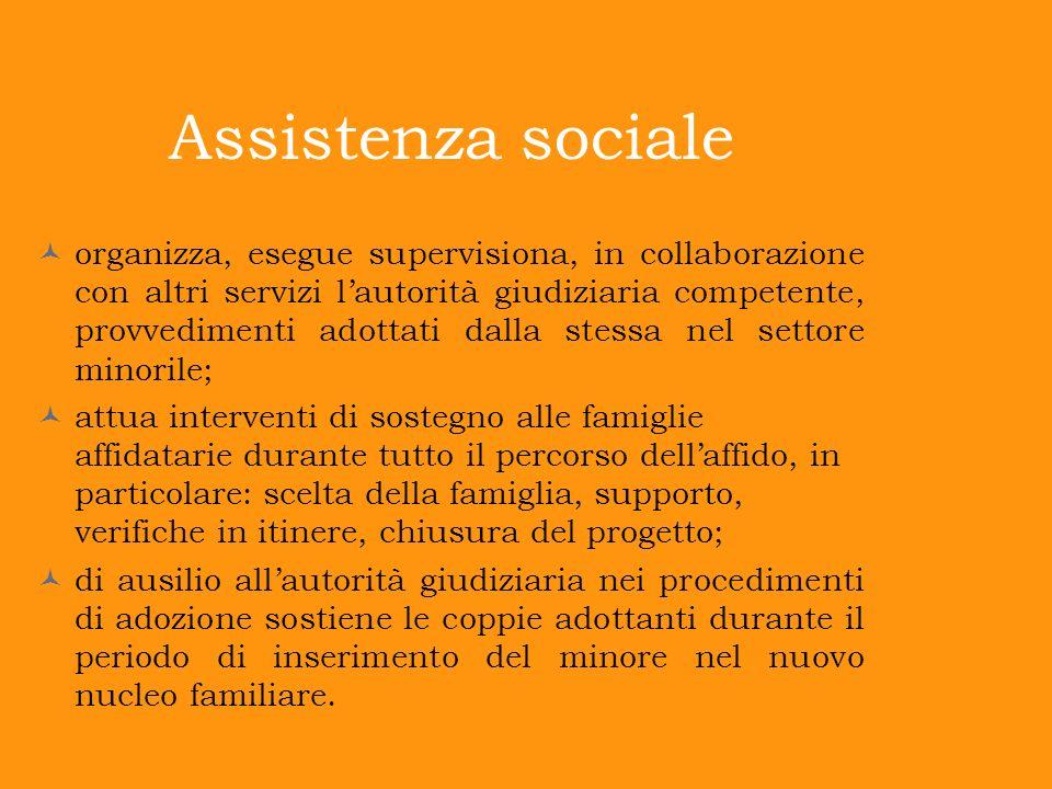 Assistenza sociale organizza, esegue supervisiona, in collaborazione con altri servizi lautorità giudiziaria competente, provvedimenti adottati dalla