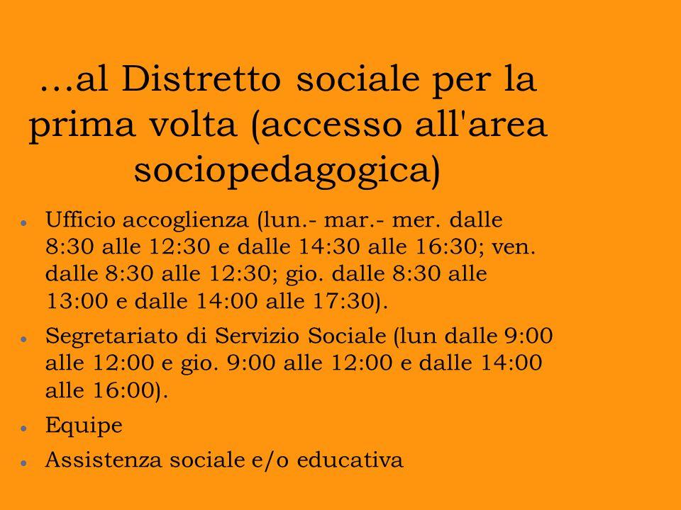 …al Distretto sociale per la prima volta (accesso all'area sociopedagogica) Ufficio accoglienza (lun.- mar.- mer. dalle 8:30 alle 12:30 e dalle 14:30