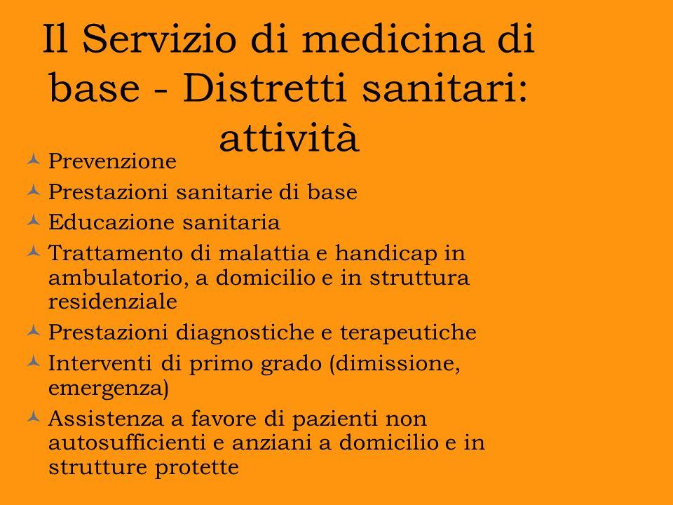 Il Servizio di medicina di base - Distretti sanitari: attività Prevenzione Prestazioni sanitarie di base Educazione sanitaria Trattamento di malattia