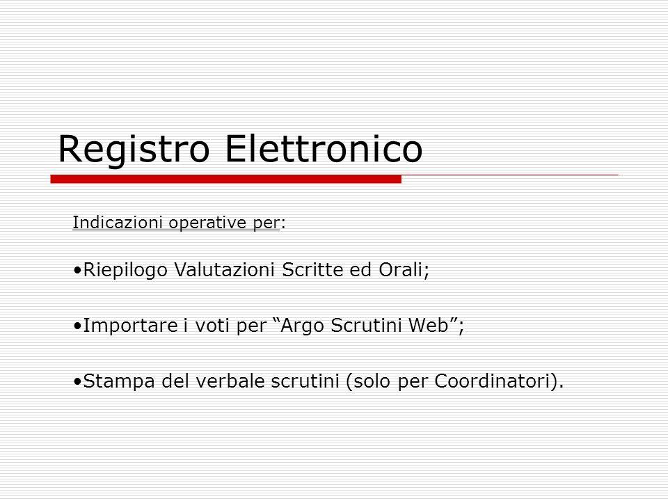 Registro Elettronico Indicazioni operative per: Riepilogo Valutazioni Scritte ed Orali; Importare i voti per Argo Scrutini Web; Stampa del verbale scr