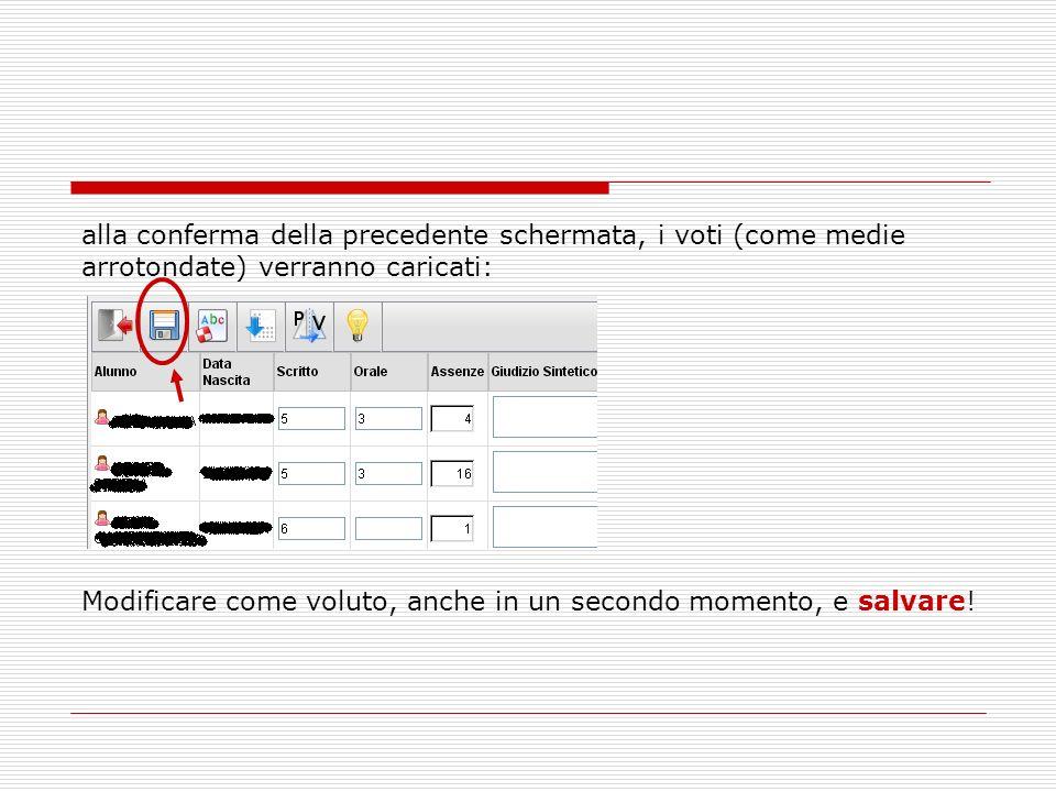 alla conferma della precedente schermata, i voti (come medie arrotondate) verranno caricati: Modificare come voluto, anche in un secondo momento, e sa