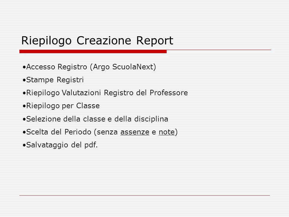 Riepilogo Creazione Report Accesso Registro (Argo ScuolaNext) Stampe Registri Riepilogo Valutazioni Registro del Professore Riepilogo per Classe Selez