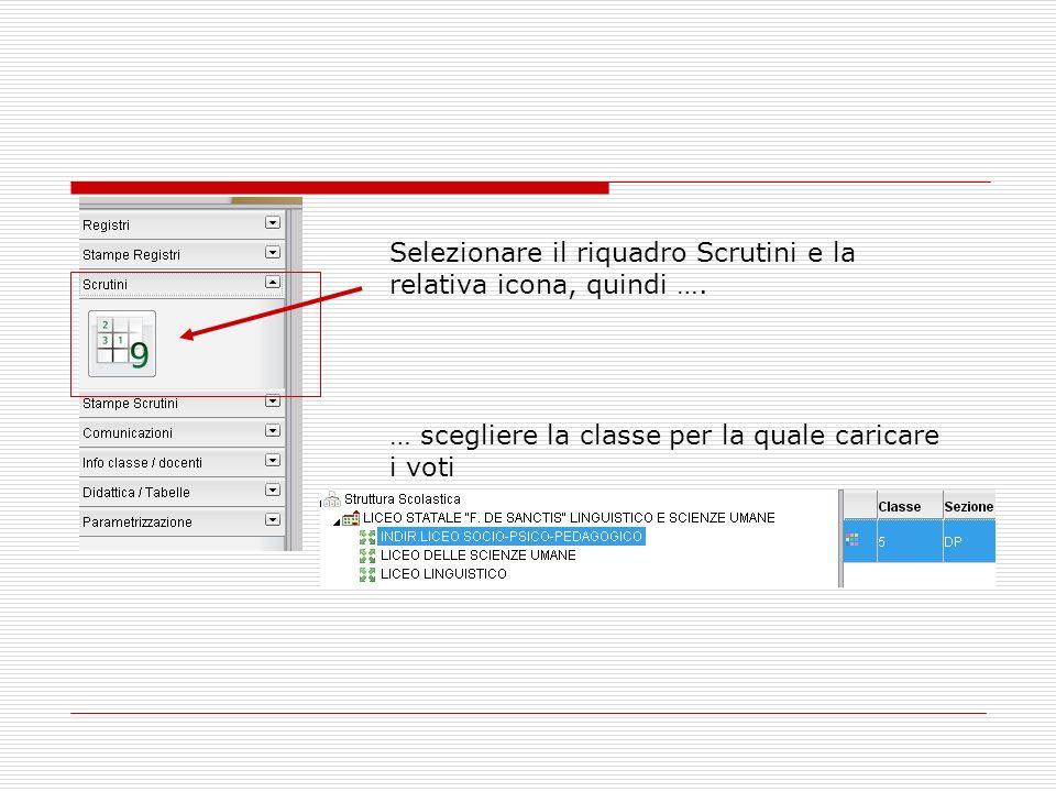 Selezionare il riquadro Scrutini e la relativa icona, quindi …. … scegliere la classe per la quale caricare i voti