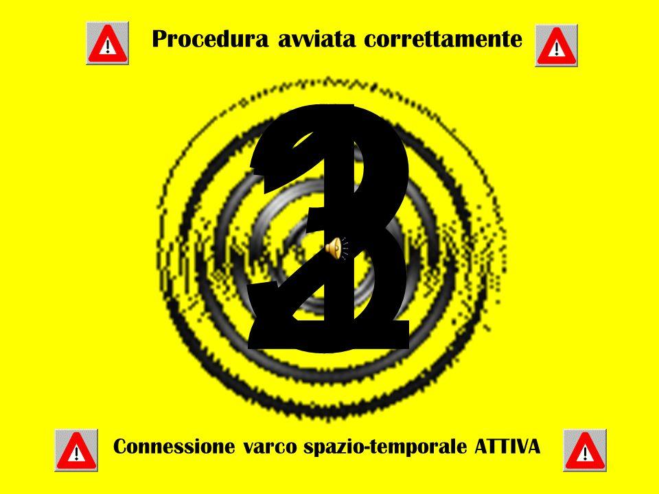 321 Procedura avviata correttamente Connessione varco spazio-temporale ATTIVA
