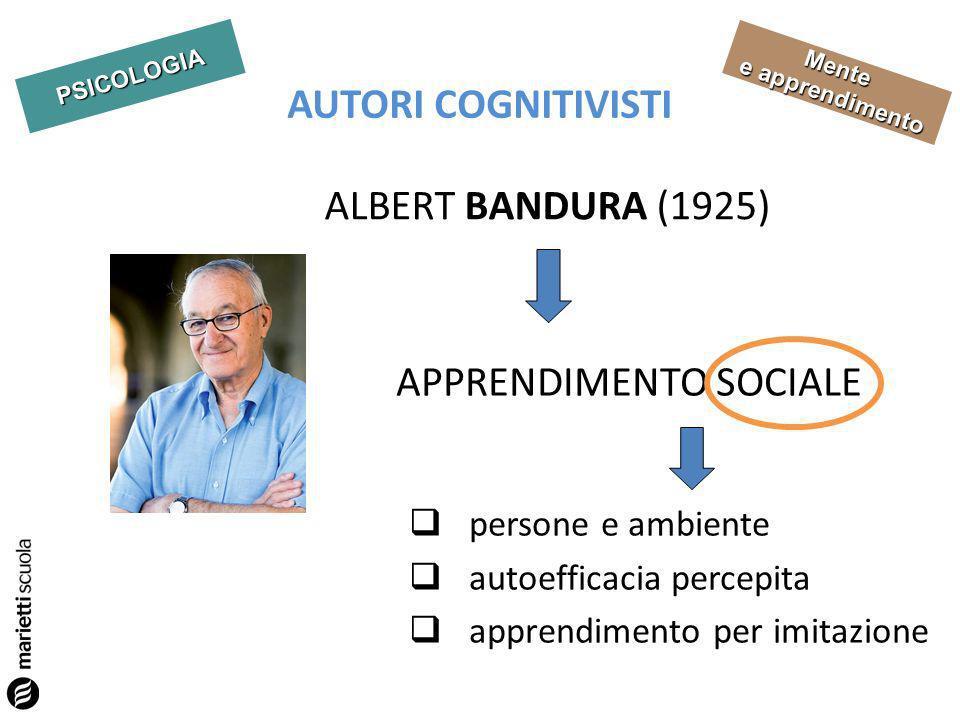 PSICOLOGIA Mente e apprendimento AUTORI COGNITIVISTI ALBERT BANDURA (1925) APPRENDIMENTO SOCIALE persone e ambiente autoefficacia percepita apprendimento per imitazione